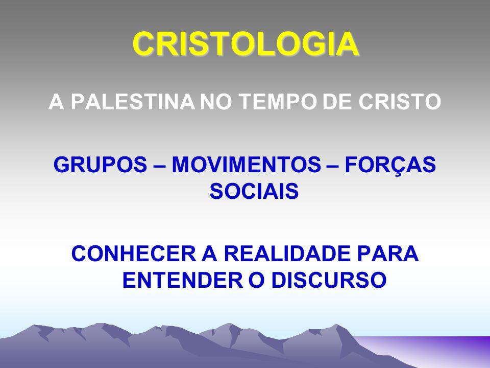 CRISTOLOGIA A PALESTINA NO TEMPO DE CRISTO GRUPOS – MOVIMENTOS – FORÇAS SOCIAIS CONHECER A REALIDADE PARA ENTENDER O DISCURSO