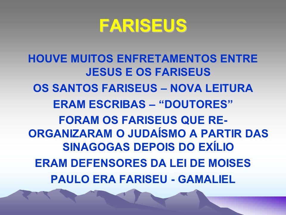 FARISEUS HOUVE MUITOS ENFRETAMENTOS ENTRE JESUS E OS FARISEUS OS SANTOS FARISEUS – NOVA LEITURA ERAM ESCRIBAS – DOUTORES FORAM OS FARISEUS QUE RE- ORG