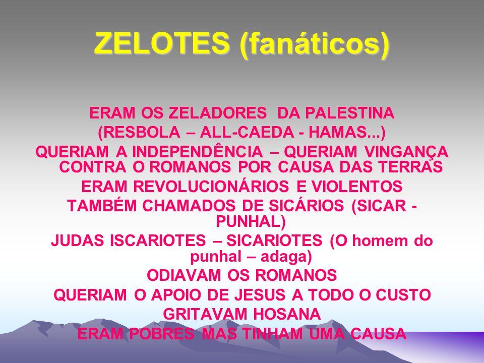 ZELOTES (fanáticos) ERAM OS ZELADORES DA PALESTINA (RESBOLA – ALL-CAEDA - HAMAS...) QUERIAM A INDEPENDÊNCIA – QUERIAM VINGANÇA CONTRA O ROMANOS POR CA