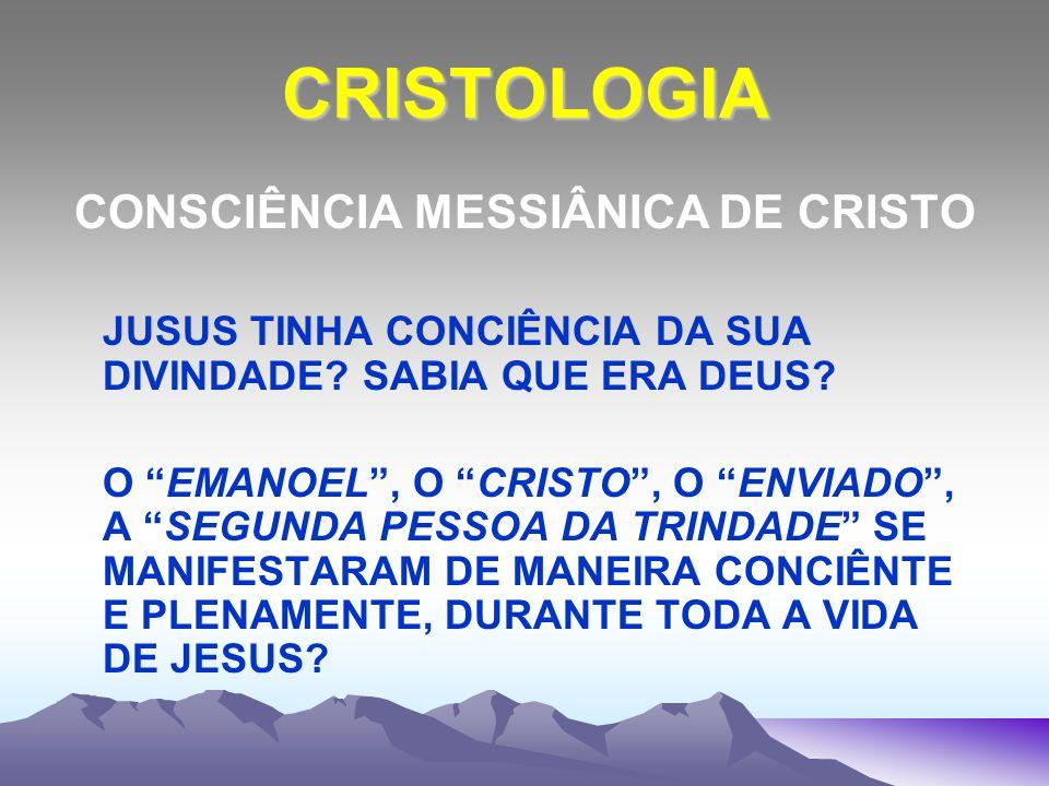 CRISTOLOGIA CONSCIÊNCIA MESSIÂNICA DE CRISTO JUSUS TINHA CONCIÊNCIA DA SUA DIVINDADE? SABIA QUE ERA DEUS? O EMANOEL, O CRISTO, O ENVIADO, A SEGUNDA PE