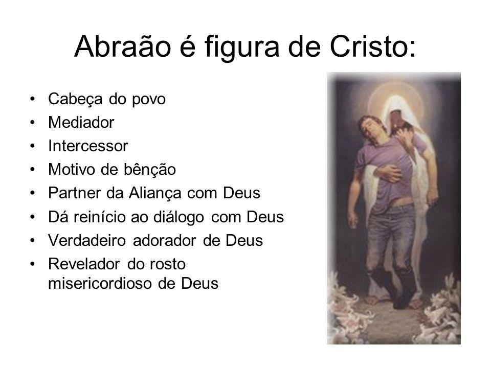 Abraão é figura de Cristo: Cabeça do povo Mediador Intercessor Motivo de bênção Partner da Aliança com Deus Dá reinício ao diálogo com Deus Verdadeiro