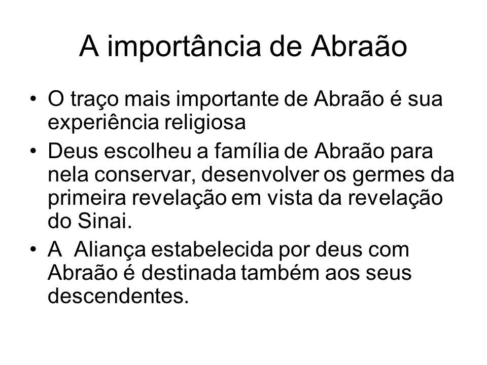A importância de Abraão O traço mais importante de Abraão é sua experiência religiosa Deus escolheu a família de Abraão para nela conservar, desenvolv
