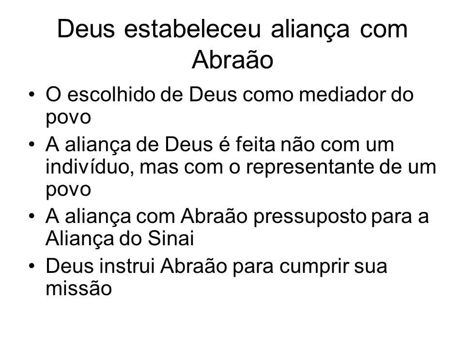 Deus estabeleceu aliança com Abraão O escolhido de Deus como mediador do povo A aliança de Deus é feita não com um indivíduo, mas com o representante