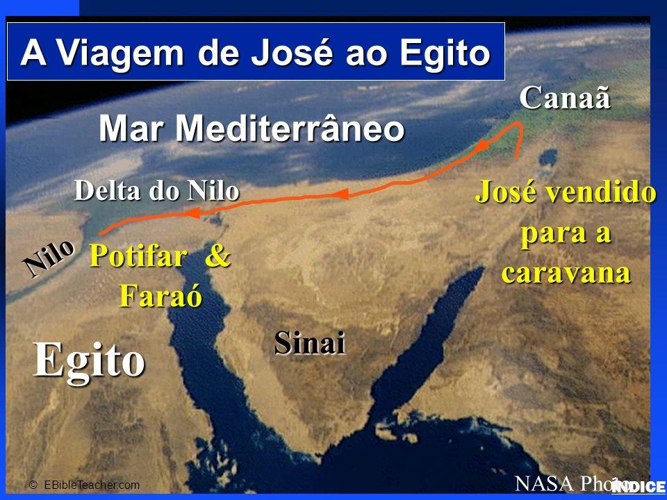 A viagem da família de José para devido a fome para Gósen devido a fome O Fértil Delta do Nilo Egito Canaã © EBibleTeacher.com Josephs Family to Goshen ÍNDICE