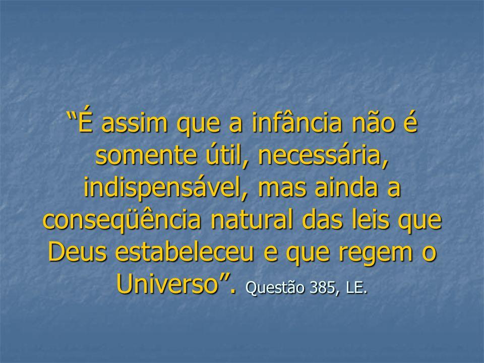 É assim que a infância não é somente útil, necessária, indispensável, mas ainda a conseqüência natural das leis que Deus estabeleceu e que regem o Uni