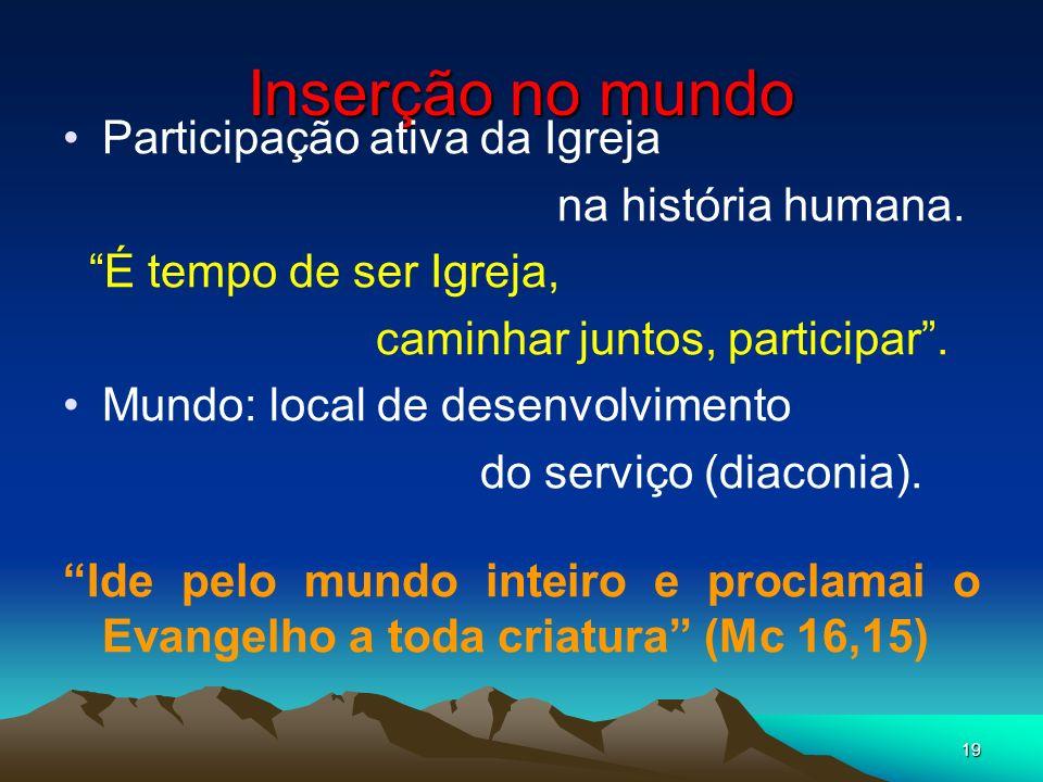 19 Inserção no mundo Participação ativa da Igreja na história humana. É tempo de ser Igreja, caminhar juntos, participar. Mundo: local de desenvolvime
