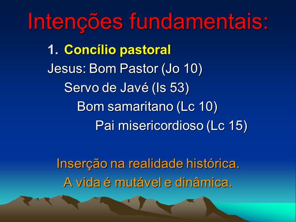 Intenções fundamentais: 1.Concílio pastoral Jesus: Bom Pastor (Jo 10) Servo de Javé (Is 53) Bom samaritano (Lc 10) Pai misericordioso (Lc 15) Pai mise