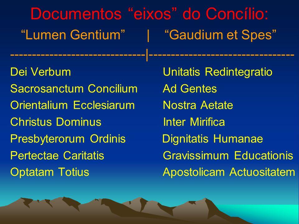 Documentos eixos do Concílio: Lumen Gentium | Gaudium et Spes -------------------------------|--------------------------------- Dei Verbum Unitatis Re