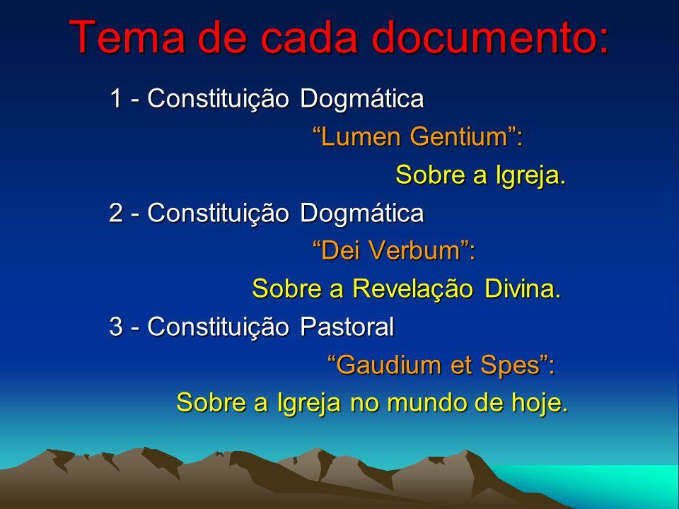 Tema de cada documento: 1 - Constituição Dogmática Lumen Gentium: Lumen Gentium: Sobre a Igreja. Sobre a Igreja. 2 - Constituição Dogmática Dei Verbum
