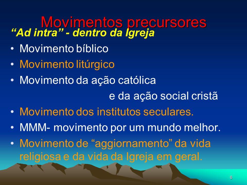8 Movimentos precursores Ad intra - dentro da Igreja Movimento bíblico Movimento litúrgico Movimento da ação católica e da ação social cristã Moviment
