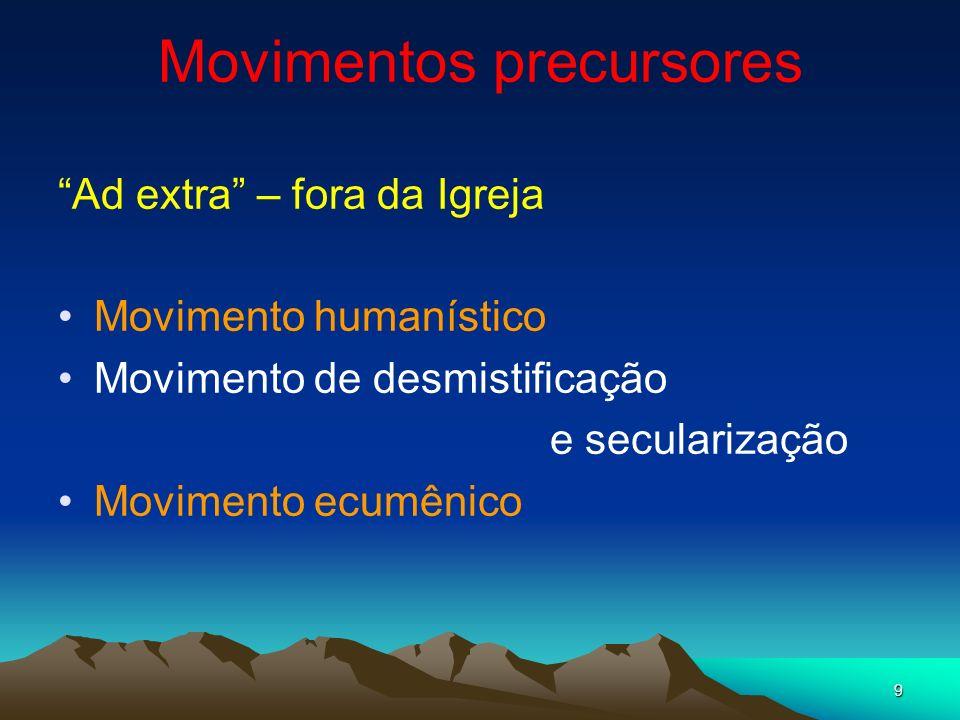9 Movimentos precursores Ad extra – fora da Igreja Movimento humanístico Movimento de desmistificação e secularização Movimento ecumênico