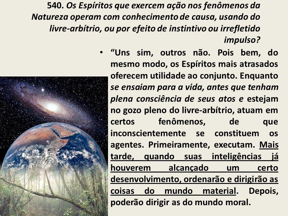 540. Os Espíritos que exercem ação nos fenômenos da Natureza operam com conhecimento de causa, usando do livre-arbítrio, ou por efeito de instintivo o