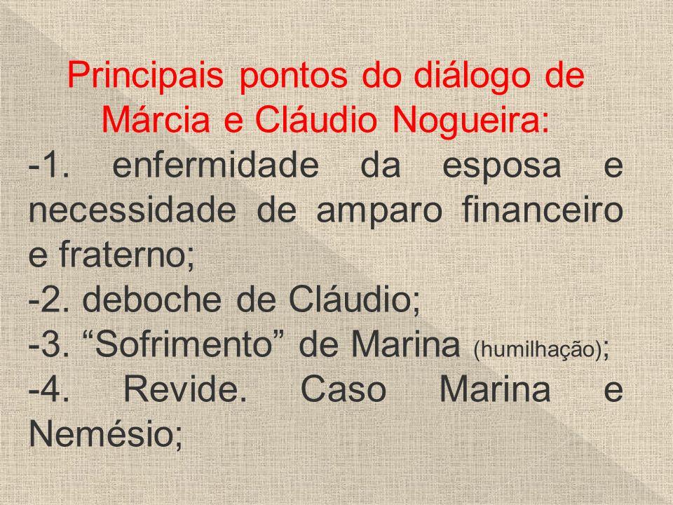Principais pontos do diálogo de Márcia e Cláudio Nogueira: -1. enfermidade da esposa e necessidade de amparo financeiro e fraterno; -2. deboche de Clá