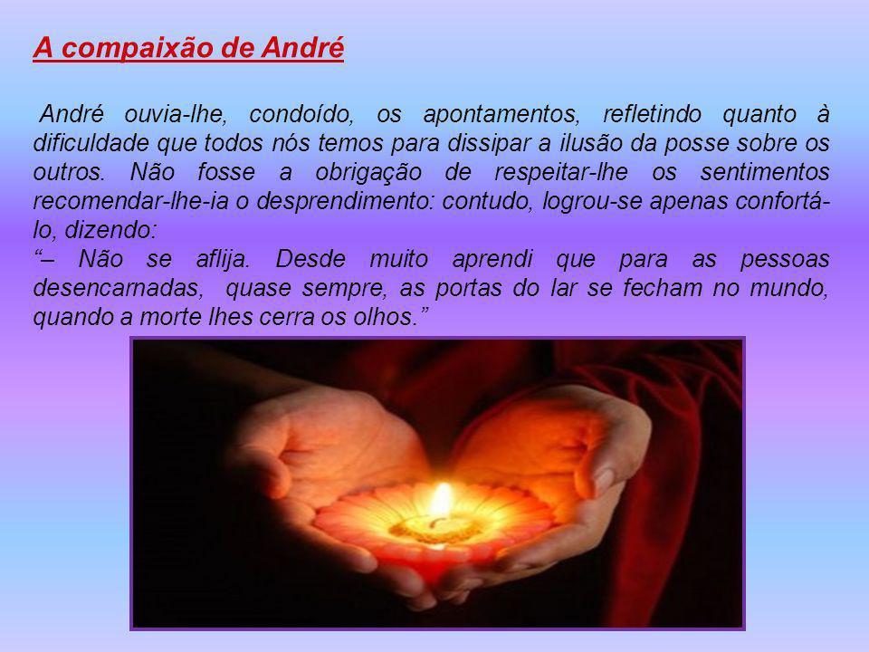 A compaixão de André André ouvia-lhe, condoído, os apontamentos, refletindo quanto à dificuldade que todos nós temos para dissipar a ilusão da posse sobre os outros.