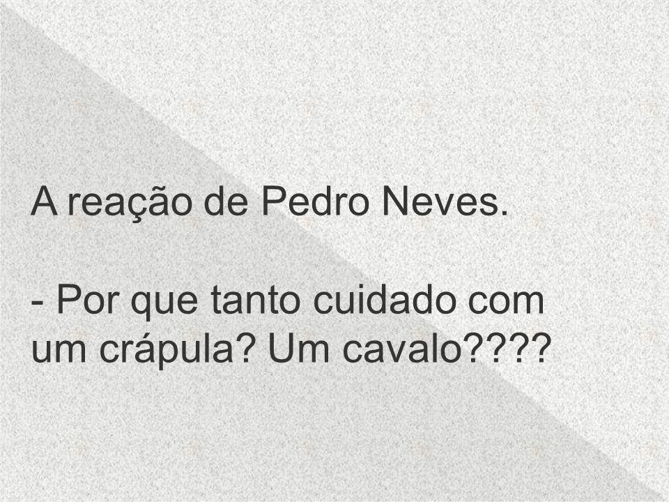 A reação de Pedro Neves. - Por que tanto cuidado com um crápula Um cavalo