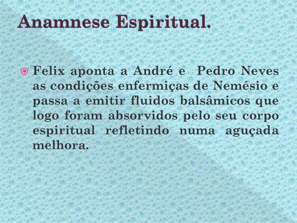 Felix aponta a André e Pedro Neves as condições enfermiças de Nemésio e passa a emitir fluidos balsâmicos que logo foram absorvidos pelo seu corpo espiritual refletindo numa aguçada melhora.