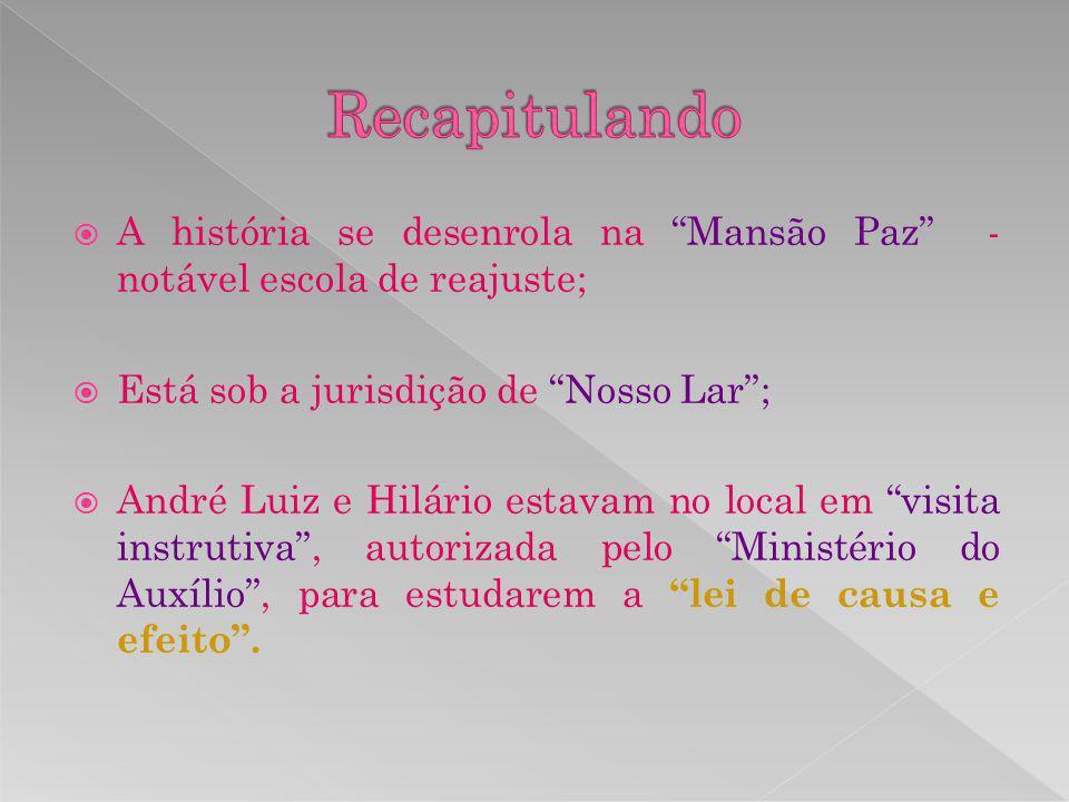 A história se desenrola na Mansão Paz - notável escola de reajuste; Está sob a jurisdição de Nosso Lar; André Luiz e Hilário estavam no local em visit