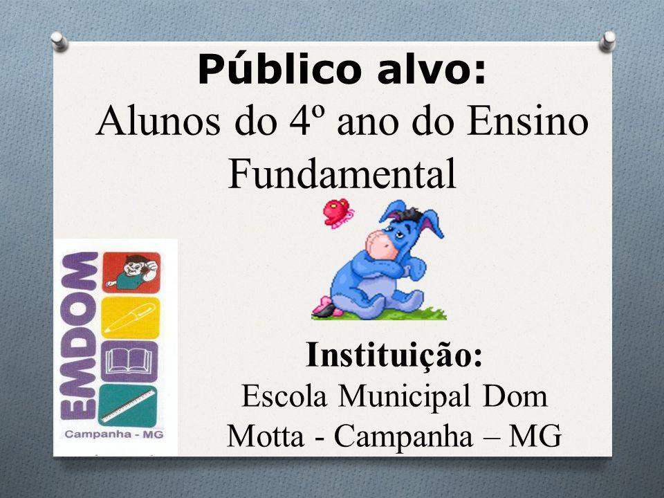 Instituição: Escola Municipal Dom Motta - Campanha – MG Público alvo: Alunos do 4º ano do Ensino Fundamental