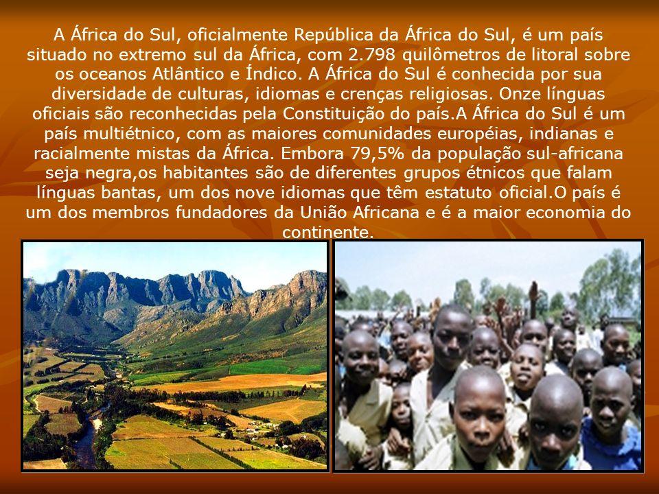 A África do Sul, oficialmente República da África do Sul, é um país situado no extremo sul da África, com 2.798 quilômetros de litoral sobre os oceano