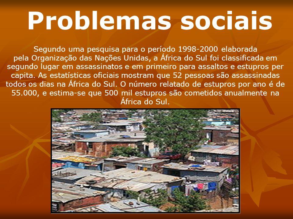 Problemas sociais Segundo uma pesquisa para o período 1998-2000 elaborada pela Organização das Nações Unidas, a África do Sul foi classificada em segu