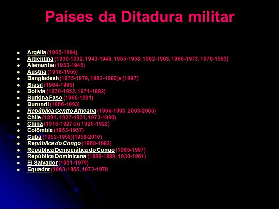 Países da Ditadura militar Argélia (1965-1994) Argélia Argentina (1930-1932, 1943-1946, 1955-1958, 1962-1963, 1966-1973, 1976-1983) Argentina Alemanha