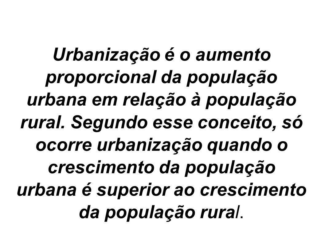 Urbanização é o aumento proporcional da população urbana em relação à população rural. Segundo esse conceito, só ocorre urbanização quando o crescimen