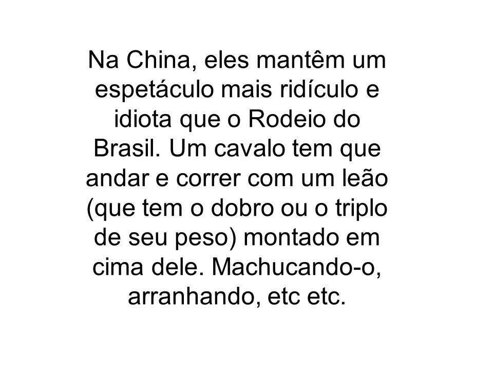 Na China, eles mantêm um espetáculo mais ridículo e idiota que o Rodeio do Brasil. Um cavalo tem que andar e correr com um leão (que tem o dobro ou o