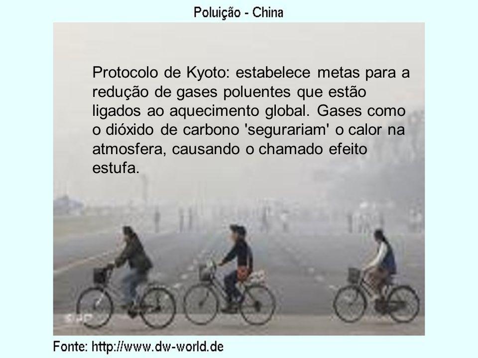 Protocolo de Kyoto: estabelece metas para a redução de gases poluentes que estão ligados ao aquecimento global. Gases como o dióxido de carbono 'segur