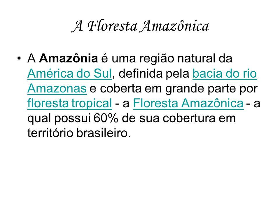 A Floresta Amazônica A Amazônia é uma região natural da América do Sul, definida pela bacia do rio Amazonas e coberta em grande parte por floresta tro