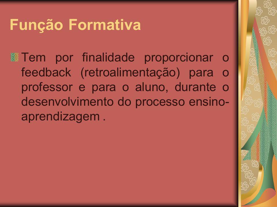 Função Somativa: Temos propósito de oferecer subsídios para o registro das informações relativas ao desempenho do aluno.