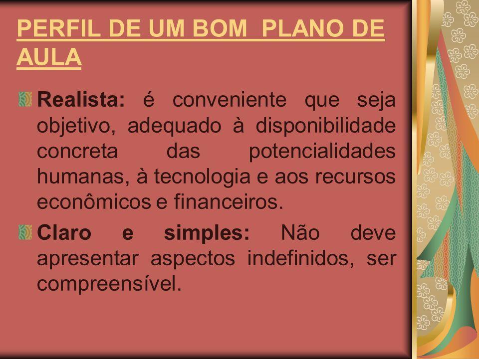 PERFIL DE UM BOM PLANO DE AULA Oportuno: satisfazer as necessidades exigidas pelas circunstâncias.