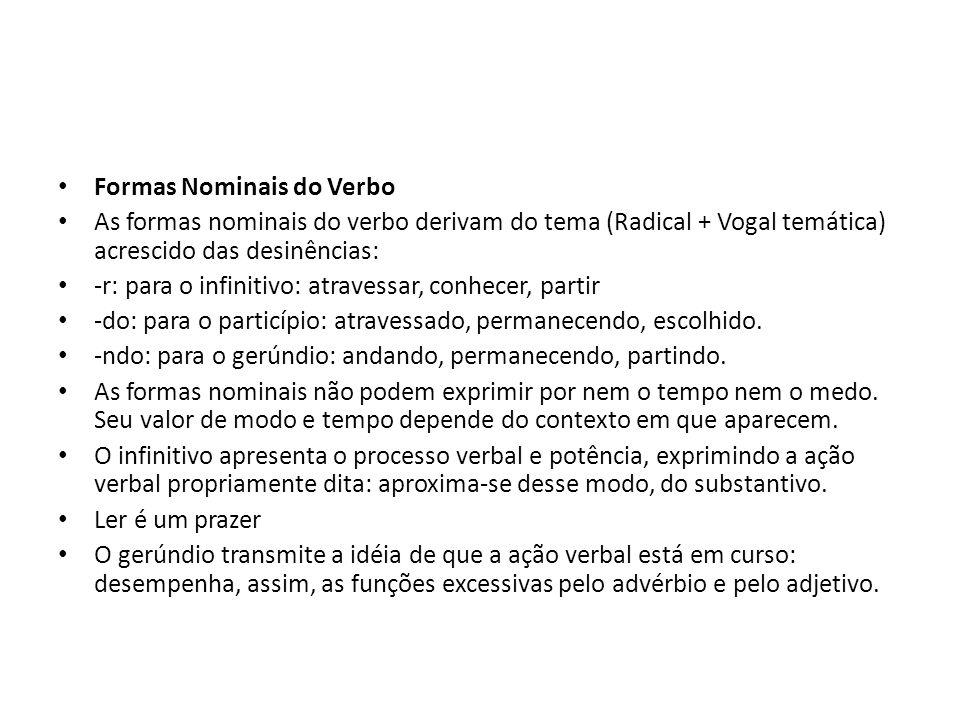 Formas Nominais do Verbo As formas nominais do verbo derivam do tema (Radical + Vogal temática) acrescido das desinências: -r: para o infinitivo: atra