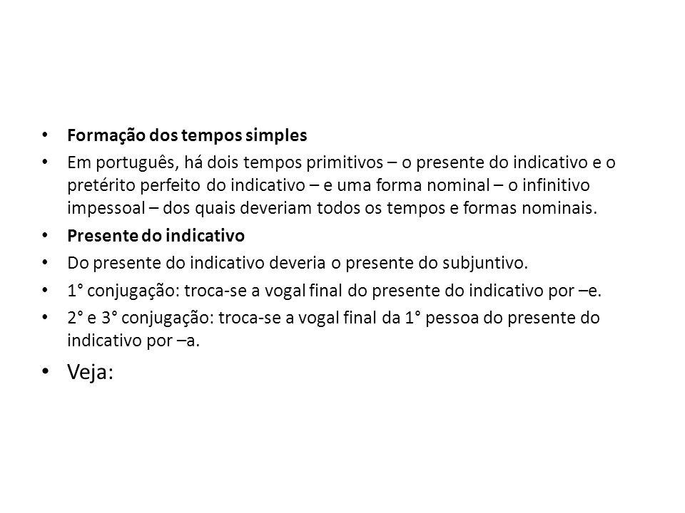 Formação dos tempos simples Em português, há dois tempos primitivos – o presente do indicativo e o pretérito perfeito do indicativo – e uma forma nomi