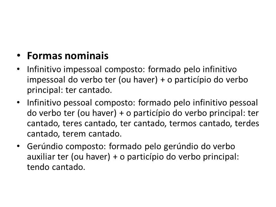 Formas nominais Infinitivo impessoal composto: formado pelo infinitivo impessoal do verbo ter (ou haver) + o particípio do verbo principal: ter cantad