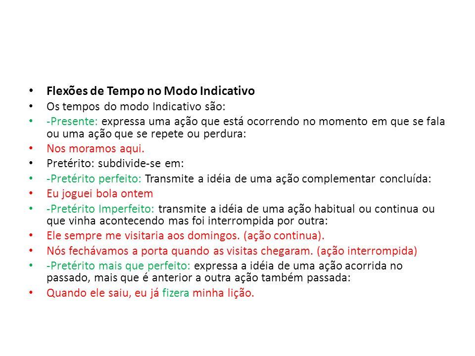 Flexões de Tempo no Modo Indicativo Os tempos do modo Indicativo são: -Presente: expressa uma ação que está ocorrendo no momento em que se fala ou uma