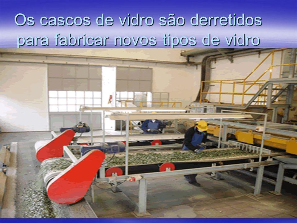 Os cascos de vidro são derretidos para fabricar novos tipos de vidro A. A.