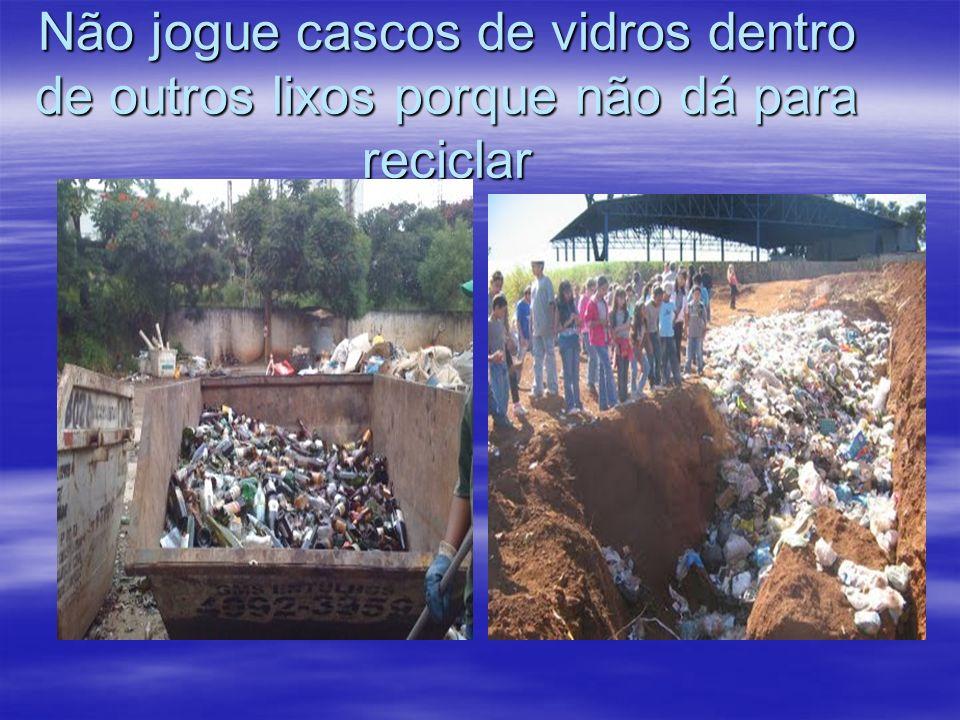 Não jogue cascos de vidros dentro de outros lixos porque não dá para reciclar