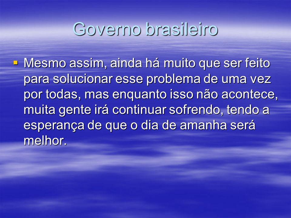 Governo brasileiro Mesmo assim, ainda há muito que ser feito para solucionar esse problema de uma vez por todas, mas enquanto isso não acontece, muita