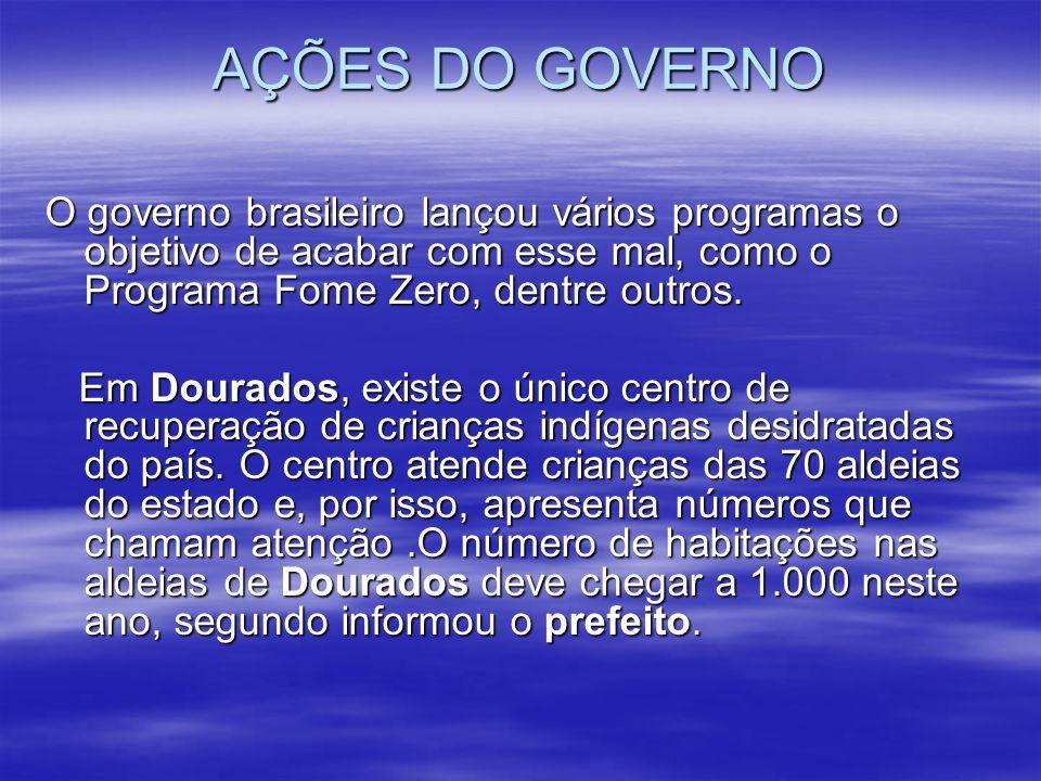 AÇÕES DO GOVERNO O governo brasileiro lançou vários programas o objetivo de acabar com esse mal, como o Programa Fome Zero, dentre outros. Em Dourados