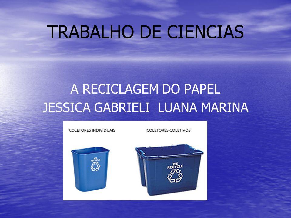 TRABALHO DE CIENCIAS A RECICLAGEM DO PAPEL JESSICA GABRIELI LUANA MARINA