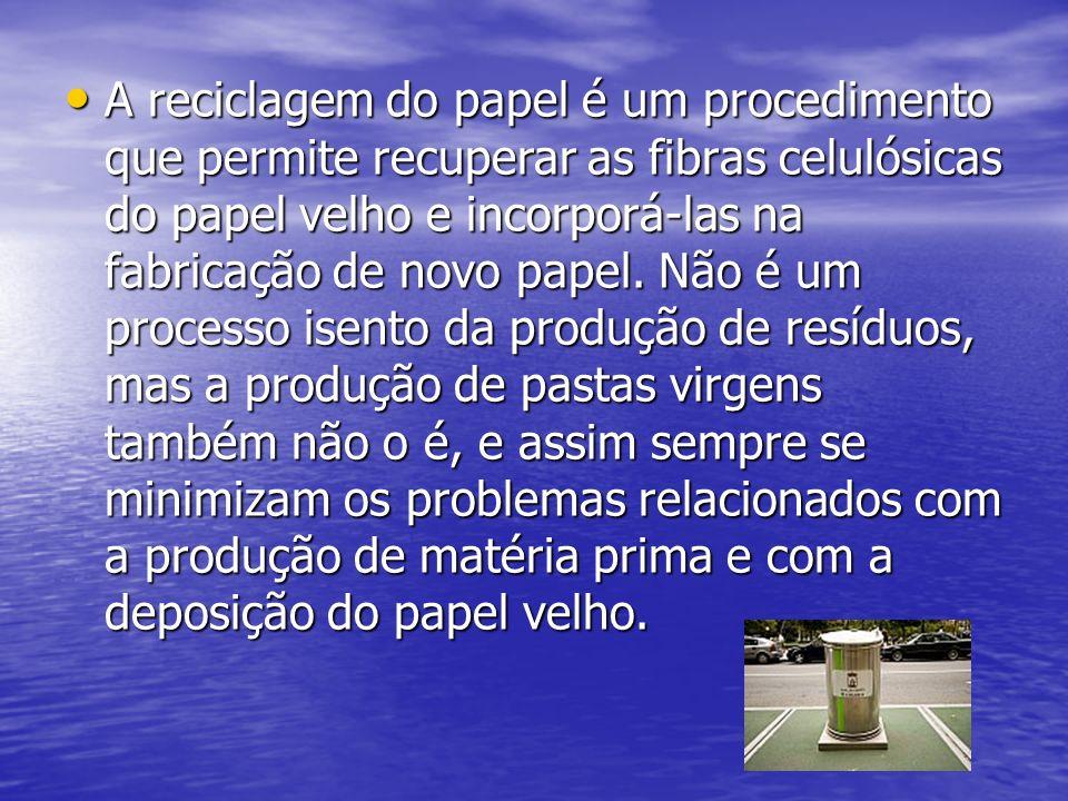 A reciclagem do papel é um procedimento que permite recuperar as fibras celulósicas do papel velho e incorporá-las na fabricação de novo papel.