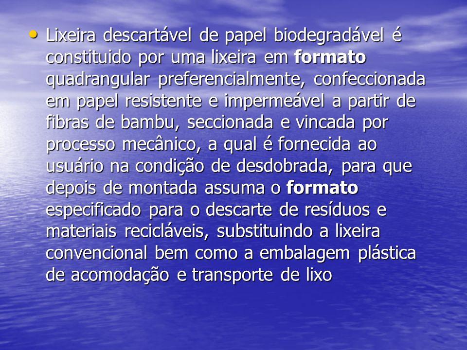 Lixeira descartável de papel biodegradável é constituido por uma lixeira em formato quadrangular preferencialmente, confeccionada em papel resistente e impermeável a partir de fibras de bambu, seccionada e vincada por processo mecânico, a qual é fornecida ao usuário na condição de desdobrada, para que depois de montada assuma o formato especificado para o descarte de resíduos e materiais recicláveis, substituindo a lixeira convencional bem como a embalagem plástica de acomodação e transporte de lixo Lixeira descartável de papel biodegradável é constituido por uma lixeira em formato quadrangular preferencialmente, confeccionada em papel resistente e impermeável a partir de fibras de bambu, seccionada e vincada por processo mecânico, a qual é fornecida ao usuário na condição de desdobrada, para que depois de montada assuma o formato especificado para o descarte de resíduos e materiais recicláveis, substituindo a lixeira convencional bem como a embalagem plástica de acomodação e transporte de lixo