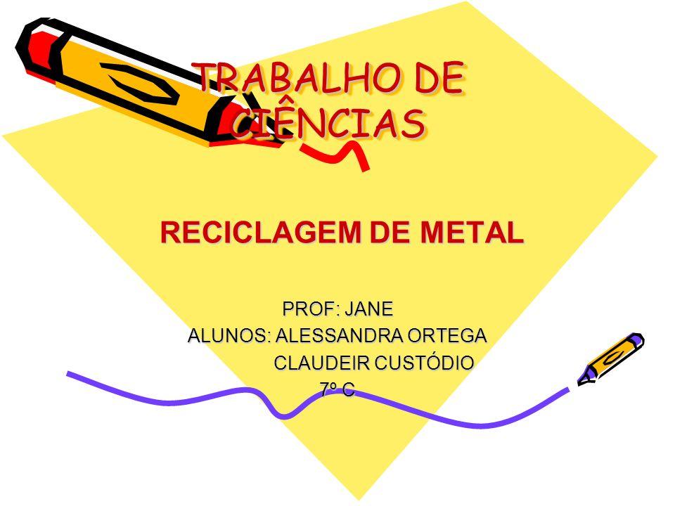 TRABALHO DE CIÊNCIAS RECICLAGEM DE METAL RECICLAGEM DE METAL PROF: JANE ALUNOS: ALESSANDRA ORTEGA CLAUDEIR CUSTÓDIO CLAUDEIR CUSTÓDIO 7º C