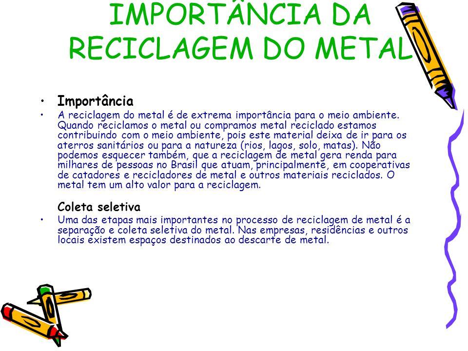 IMPORTÂNCIA DA RECICLAGEM DO METAL Importância A reciclagem do metal é de extrema importância para o meio ambiente. Quando reciclamos o metal ou compr