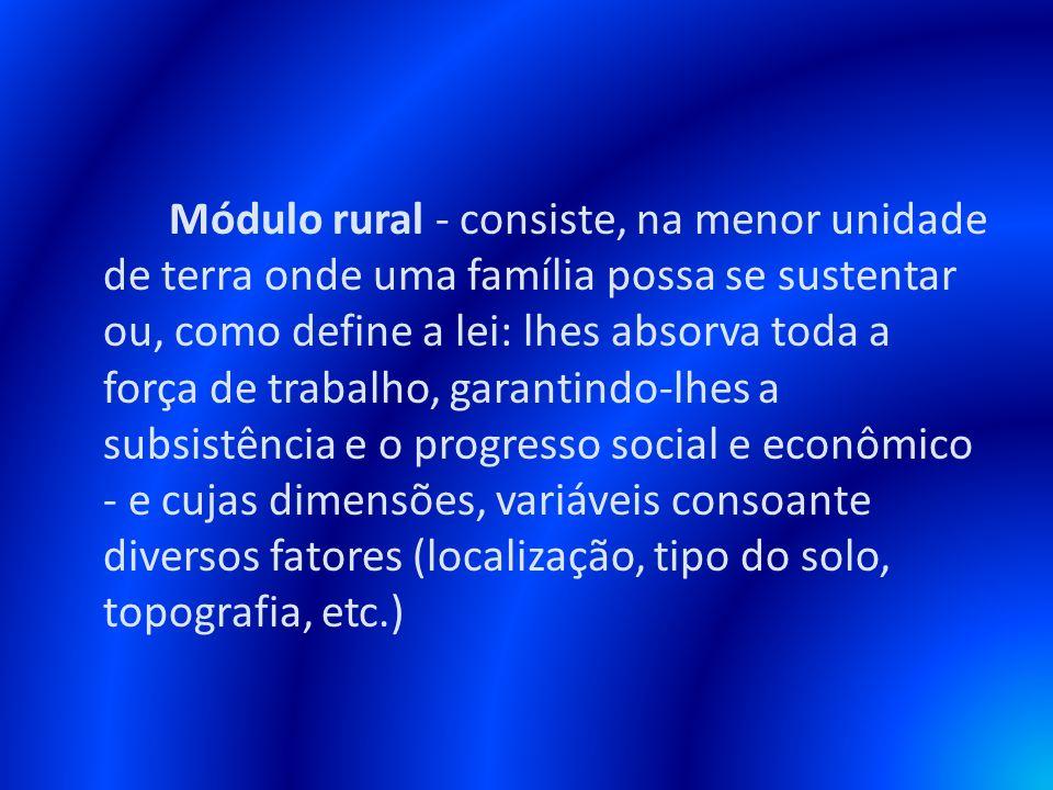 Módulo rural - consiste, na menor unidade de terra onde uma família possa se sustentar ou, como define a lei: lhes absorva toda a força de trabalho, g