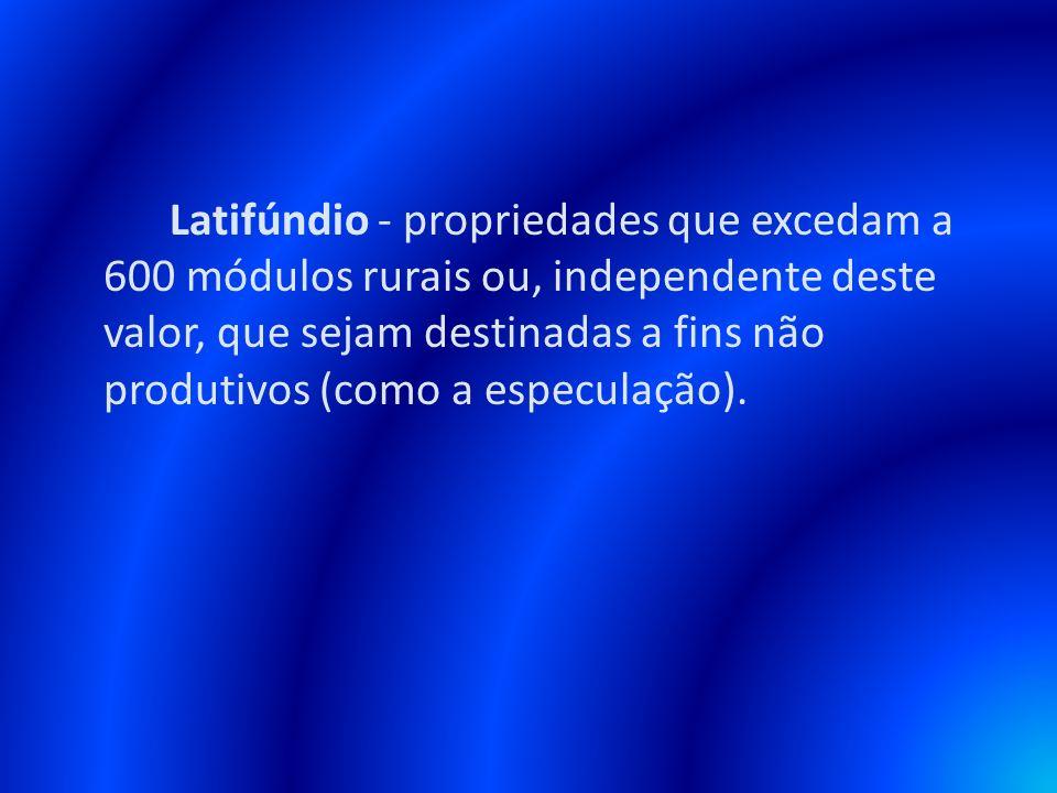Latifúndio - propriedades que excedam a 600 módulos rurais ou, independente deste valor, que sejam destinadas a fins não produtivos (como a especulaçã