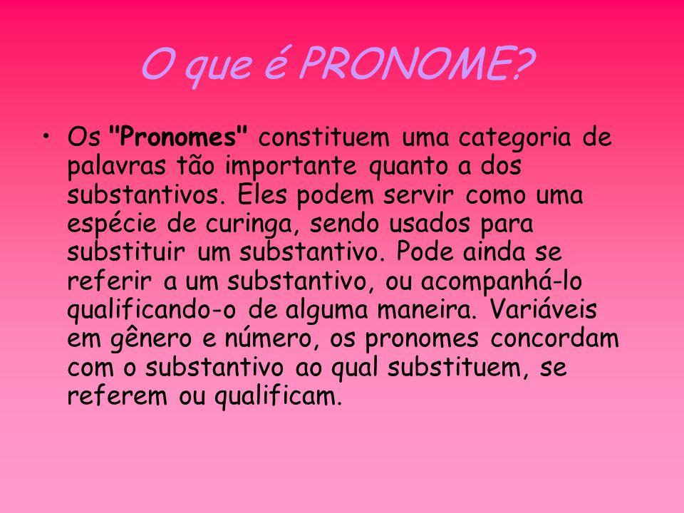 FUNÇÃO: O pronome tem duas funções fundamentais: Substituir o nome Nesse caso, classifica-se como pronome substantivo e constitui o núcleo de um grupo nominal.