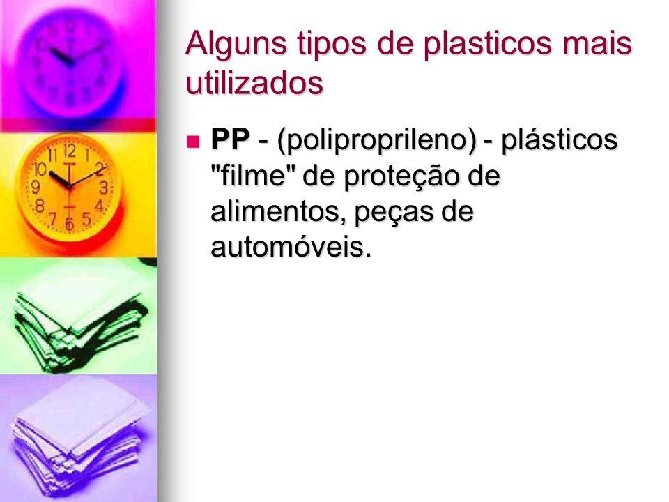 Alguns tipos de plasticos mais utilizados PP - (poliproprileno) - plásticos
