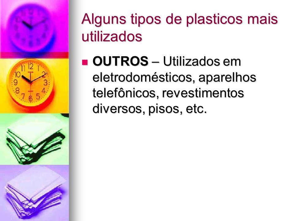 Alguns tipos de plasticos mais utilizados OUTROS – Utilizados em eletrodomésticos, aparelhos telefônicos, revestimentos diversos, pisos, etc. OUTROS –