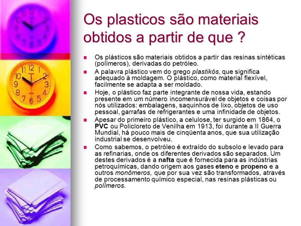Os plasticos são materiais obtidos a partir de que ? Os plásticos são materiais obtidos a partir das resinas sintéticas (polímeros), derivadas do petr